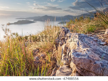 View from the mountain above Sveti-Stefan in Montenegro - stock photo
