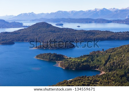 View from the mountain Lopez to the Villa  Llao Llao, Bariloche, Patagonia, Argentina