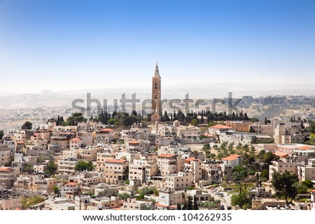 View from the Mountain of Olives on east Jerusalem.Israel. - stock photo