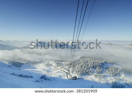 view from the mountain Saentis, Switzerland - stock photo