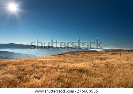 View from the mountain Stara Planina in Serbia at idyllic sunny day above the clouds. - stock photo