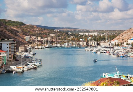 View from the mountain to Balaklava Bay, the Crimea - stock photo
