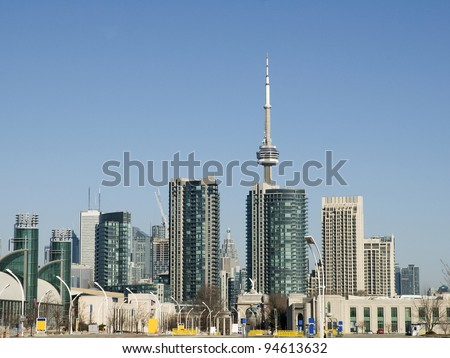 view from the national exhibition ground in toronto to cn tower - stock photo