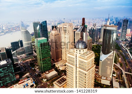 view from the Oriental Pearl TV Tower.shanghai lujiazui financial - stock photo