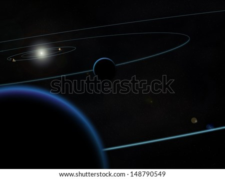 view from the outer solar system behind Neptune with orbiting trails of 4 outer planets with plain black background