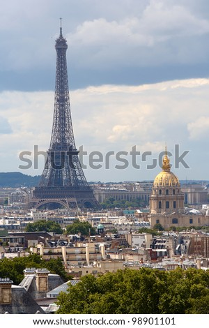 View from the Pantheon in Paris, with Eiffel Tower and Les Invalides. Cloudy day. - stock photo