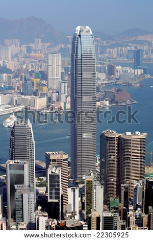 View from the Peak, Hong Kong - stock photo