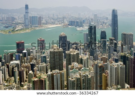 View from the Peak on Central downtown, Hong Kong - stock photo