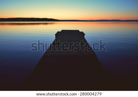 View from the pier at sunset  - stock photo