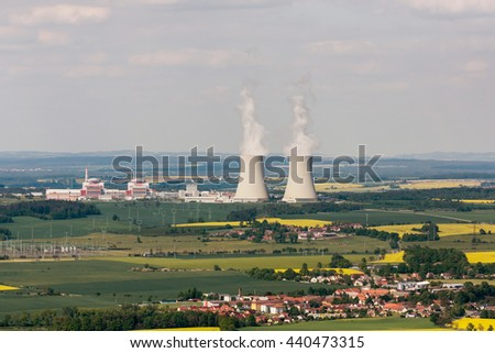 View from the plane on Nuclear power plant Temelin in the Czech Republic  - stock photo