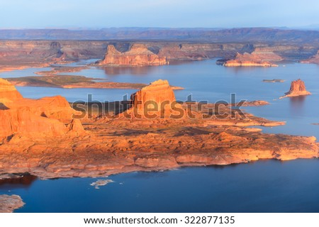 View from the plane on the Grand Canyon during the sunrise, Arizona, USA