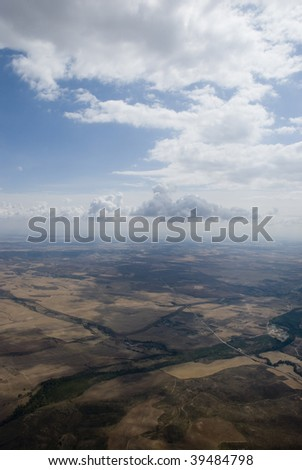 View from the plane window - stock photo