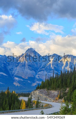 View from the road on the Canadian Rockies, Icefield Parkway, Alberta, Canada
