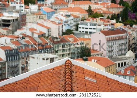 View from the roof, Lisabon, Portugal. - stock photo