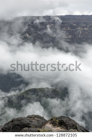 View from the Roraima tepui on Kukenan tepui in the mist - Venezuela, South America