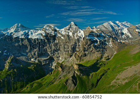 View from the Schilthorn mountain in Switzerland - stock photo