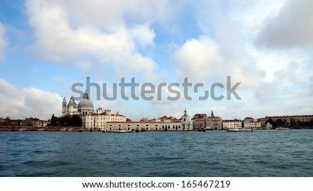 view from the sea at the sights of Venice, Italy.