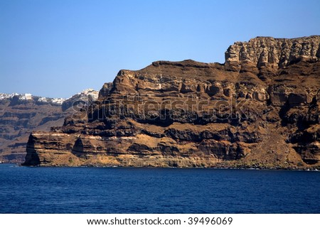view from the sea of the island of santorini, greece