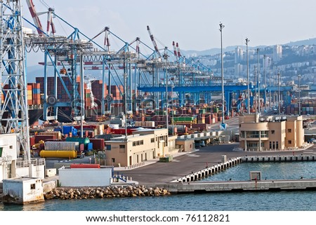 View from the sea port and containers (port in Haifa, Israel). - stock photo