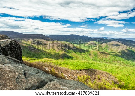 View from the Shenandoah Valley on the Old Rag hike in Virginia - stock photo