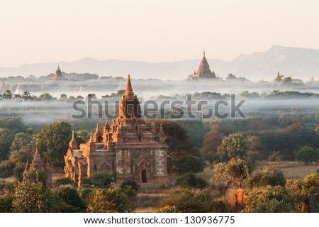 View from the Shwe Sandaw Pagoda during sunset in Bagan, Myanmar - stock photo