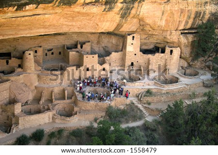 view from the side - ancestral Pueboans village center - stock photo