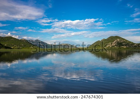 View from the Skadar Lake Mountain with reflection - stock photo