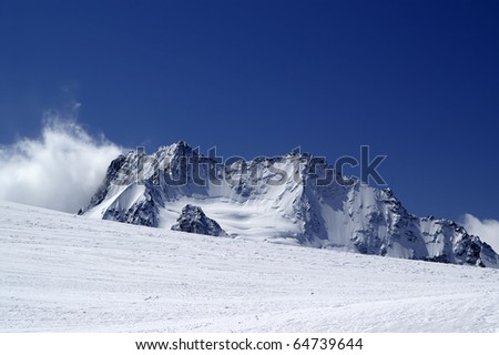 View from the ski slope. Caucasus Mountains, Dombay. - stock photo