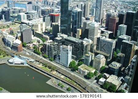View from the skydeck of the Eureka tower over the Yarra river and Melbourne in Victoria in Australia - stock photo