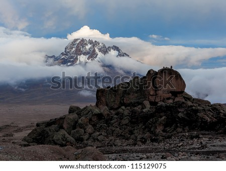 View from the slopes of Kilimanjaro peak Mawenzi in the evening - Tanzania - stock photo