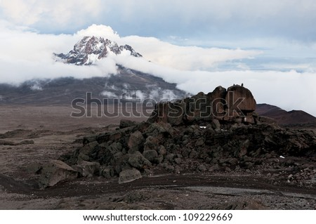 View from the slopes of Kilimanjaro peak Mawenzi - Tanzania, East Africa - stock photo