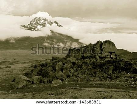 View from the slopes of Kilimanjaro peak Mawenzi - Tanzania, East Africa (stylized retro) - stock photo