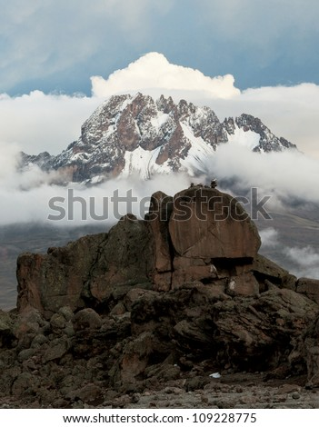 View from the slopes of Kilimanjaro peak Mawenzi - Tanzania, Eastern Africa - stock photo