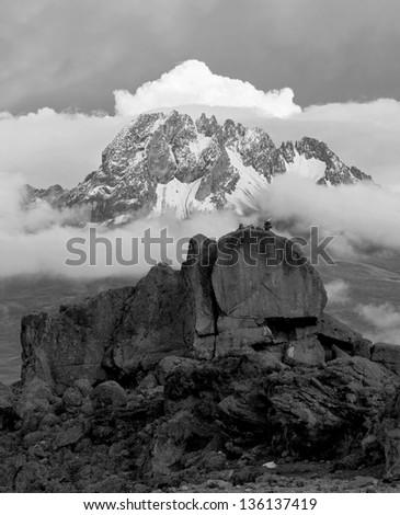 View from the slopes of Kilimanjaro peak Mawenzi - Tanzania, Eastern Africa (black and white) - stock photo