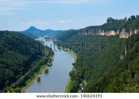 View from the Small Bastei towards Bad Schandau and Elbe valley - stock photo