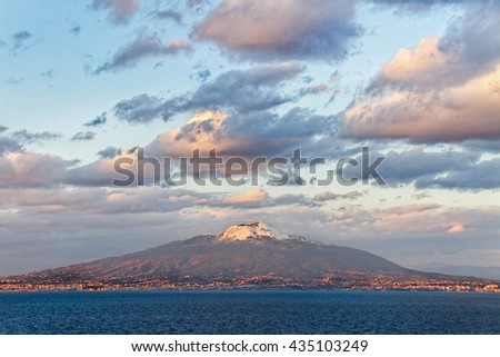 View from the Sorrento coast to the Vesuvius volcano.