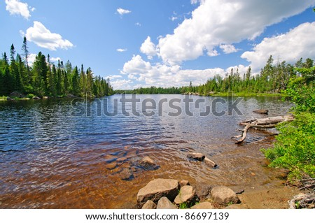 View from the South Portage on Cross Bay lake - stock photo