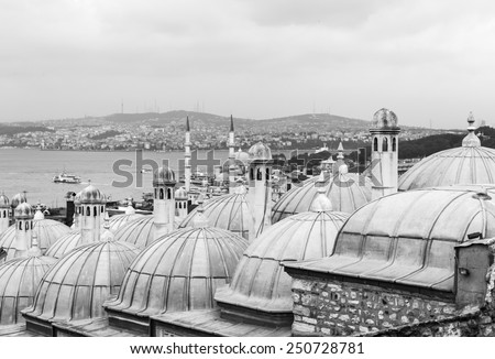 View from the Suleymaniye Mosque complex to the Golden Horn, Istanbul, Turkey - stock photo