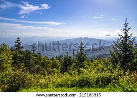 View from the summit of Clingmans Dome in the Great Smoky Mountains.  At over 6000 ft above sea level this is the highest point of the Great Smoky Mountains National Park and the Appalachian Trail. - stock photo