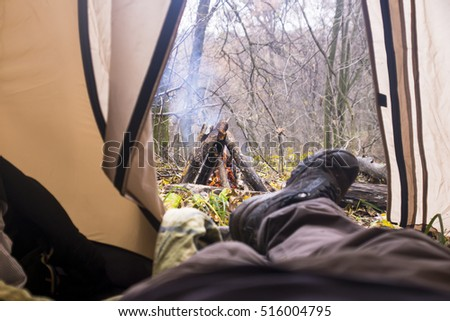 view from the tent on fire a