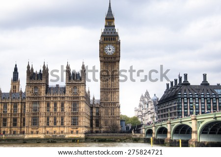 View from the Thames of the Houses of Parliament with the famous Big Ben tower and the Westminster bridge in London, the capital of the United Kingdom  - stock photo