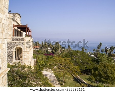 View from the Tiberius to Sea Of Galillee (Kineret lake).Israel - stock photo