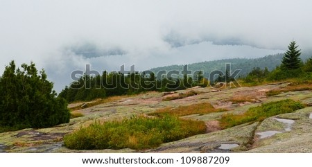 View from the to of Cadillac Mountain in Acadia National Park. - stock photo
