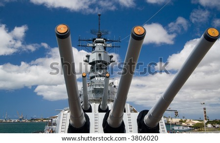 View from the top deck of the  U.S.S. Missouri in Pearl Harbor, Hawaii - stock photo