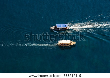 View from the top down by two passenger ship passing by, Black Sea, Crimea  - stock photo