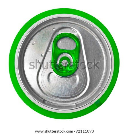 View from the top of a green beer or soft drink can isolated on white - stock photo