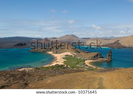 view from the top of bartolome island, galapagos, ecuador - stock photo