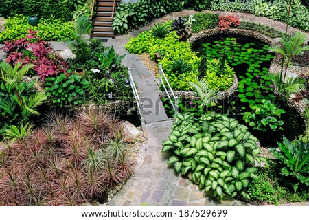 View from the top of beautiful garden. - stock photo