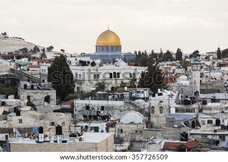 View from the top of Damascus gate to Jerusalem Old Town. Israel. - stock photo