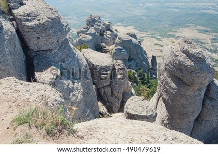 View from the top of Demerdgy mountain on its bizarre rock forms, Crimea, Russia